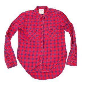Abercrombie Button Shirt Plaid Long Sleeve Red (M)